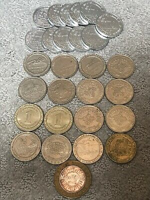 28 Various Slot Machine Coins Las Vegas Nevada - $1 And $10 Tokens / Coins