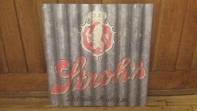 Stroh's Large Tin Metal Corrugated Beer Sign - Brand New from Pabst - FREE S/H