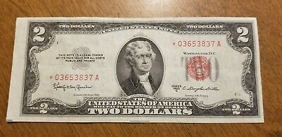 1953 C $2 Bill Red Seal Star Note Currency United States Dollar 03653837 AU