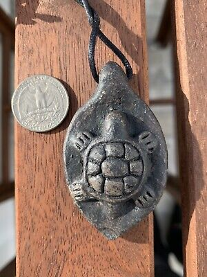Taino Pre Columbian Brown Black Clay Turtle Pendant