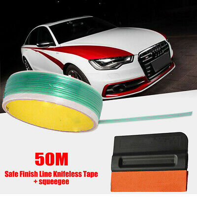 Fit Vinyl Wrapping Cutting Trim 50M Safe Finish Car Line Knifeless Tape+Squeegee