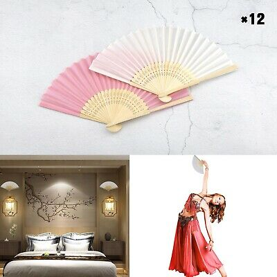 12pcs White/Pink Blank Hand Held Fans Bamboo Wooden Folding Fans Handheld Folded