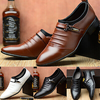 Mens Formal Pointed Toe Buckle Shoes Work Business Wedding Slip On Dress Shoes