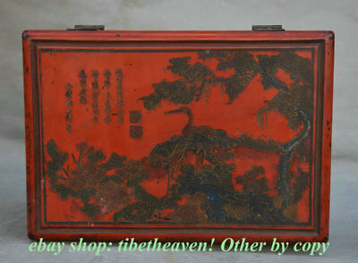 """10.6"""" Mark Old China lacquerware Painting Dynasty Palace Crane Pine Jewelry Box"""