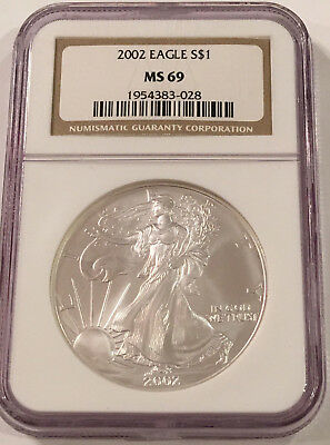2002 American Silver Eagle NGC MS69 Brown Label,  Nice & Pretty  Beautiful!