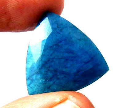 Dyed Faceted Blue Sapphire Gemstone 14 ct 19x19mm AQ555