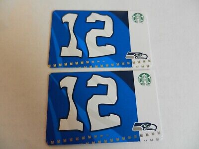 2 - NEW STARBUCKS CARDS SEATTLE SEAHAWKS 12th MAN FLAG 2019 #6169 NFL NO VALUE
