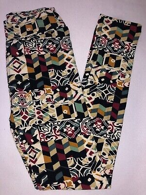 (BoxJ) LuLaRoe Kids Leggings L/XL New Multicolor Fancy Floral & Diamond Design