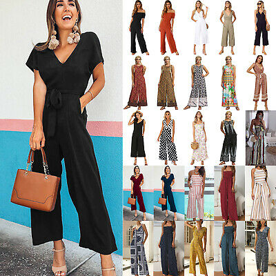Womens Summer Jumpsuit Wide Leg Loose Pants Long Party Playsuit Romper Trousers