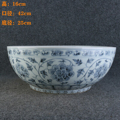 Chinese Antique Ming Dy Blue & white flowers pattern Porcelain Big bowl