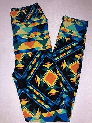 (BoxDD) LuLaRoe Kids Leggings L/XL New Black W/ Orange Yellow Blue Green Aztec