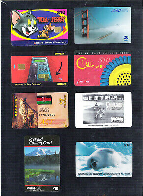 Eight (8) 1990s Telephone Calling Cards – non functional – ACMI, US West, etc.