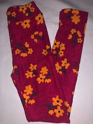 (BoxEE) LuLaRoe Kids Leggings L/XL New Multicolor Pinks W/ Yellow Green Floral