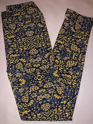 (BoxEE) LuLaRoe Kids Leggings L/XL New Blue W/ Yellow & Tan Floral