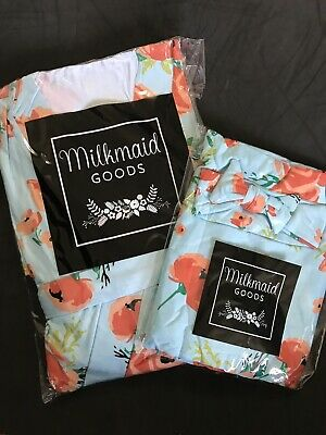 Milkmaid Goods Womens Coral Poppy  Maternity Robe and Swaddle Blanket w/Headband