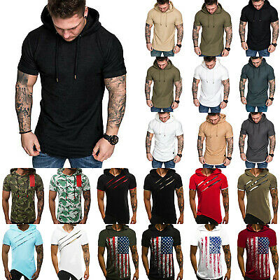 Mens Hoodie T-Shirt Summer Muscle Tee Short Sleeve Sports Casual Hooded Tops AU