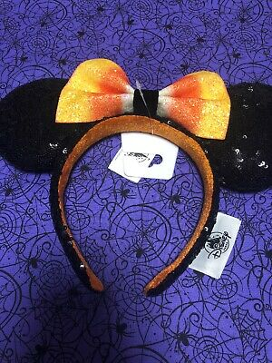 Disney Parks Minnie Mouse Ears Halloween Headband with Candy Corn Bow NEW 2019
