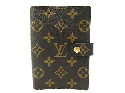 Authentic Louis Vuitton monogram Agenda PM Notebook cover R20005 Brown LV