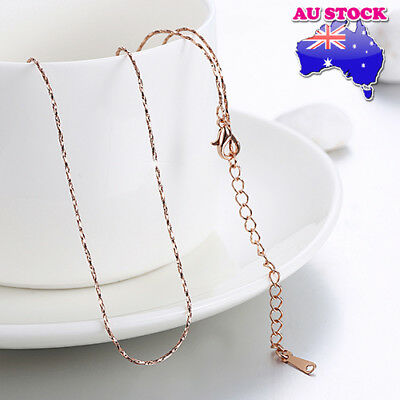 18K Rose Gold Filled 0.5mm Polished Snake Twisted Rope Solid Chain Necklace