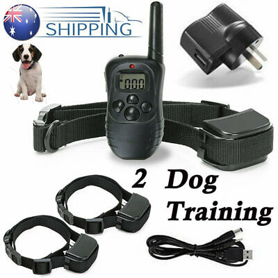 Electric Rechargeable Anti Barking Collar 2 Dogs Training Remote Non-endangered