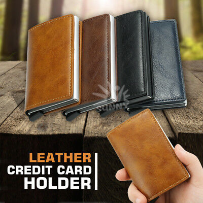 Credit Card Holder PU Leather Case RFID Blocking Metal Wallet Money Clip
