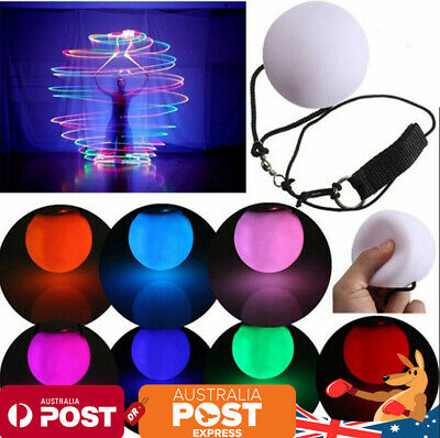 8X Multi-colored LED Glow POI Light Up Thrown Balls Belly Dance Level Hand Props