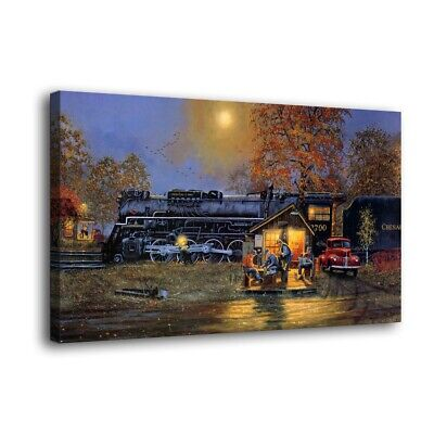 """HD Canvas Print Paintings Train Passing Time Home Decor Wall Art Pictures16""""x28"""""""