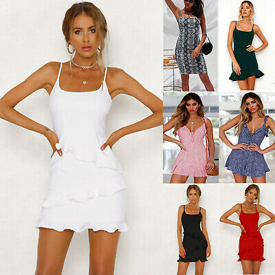 Womens Strappy Summer Sleeveless Holiday Beach Party Short Dress Mini Sundress