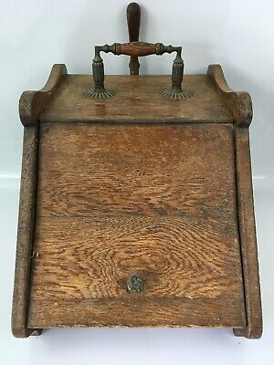 Vintage Wooden Coal Scuttle With Liner & Spade And Brass Detail