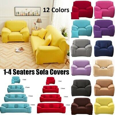 Solid Sofa Covers Soft Couch Slipcovers L Shape Recliner Protector 1/2/3/4 Seats