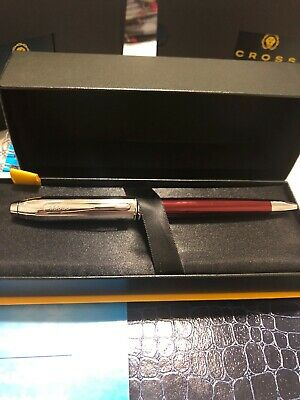 Cross Townsend Red Lacquer & Chrome Ballpoint Pen New In Box AT0042g-57
