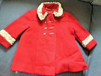 antique red wool little girl coat