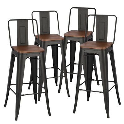 Industrial Metal Bar Stools Breakfast Chair Wooden Top Vintage Cafe Counter Seat