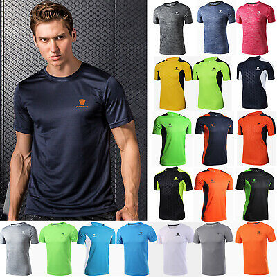 Mens Quick Dry Sports Gym Workout Short Sleeve T-shirt Fitness Training Tee Top