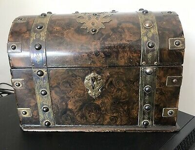 Rare Antique Brass Bound Papier Mache Stationary Box & Key @ 1890