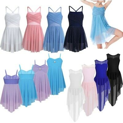 Girls Lyrical Modern Ballet Latin Dance Dress Sleeveless Costumes Fancy Leotards