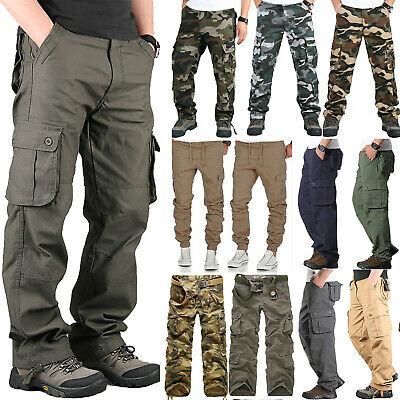 Mens Multi-Pocket Combat Tactical Pants Jogging Outdoor Cargo Work Long Trousers