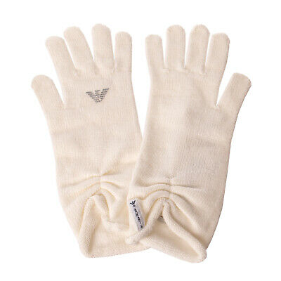ARMANI JUNIOR Everyday Gloves Size 3 / L Logo Detailing Ruched Cuff