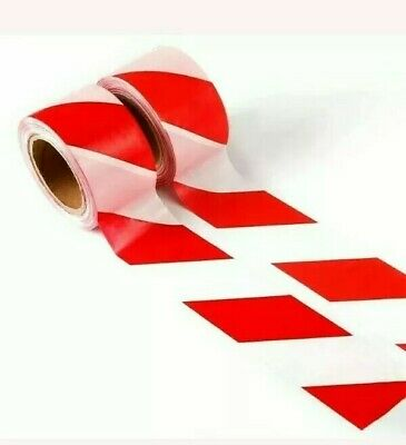 + 2x Barrier tape Red White Hazard Warning Danger Non adhesive 75mm x 500m 71:1