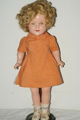 "PRETTY! Vintage 20"" Shirley Temple Composition Doll Orange Dress"