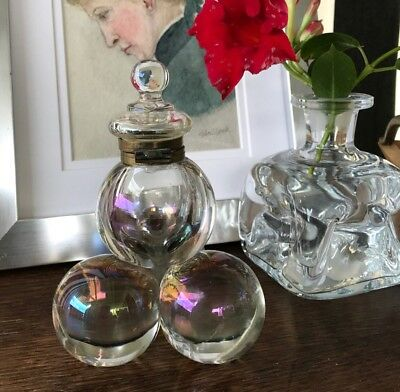Antique English Inkwell c1880 Victorian Iridescent Glass Balls