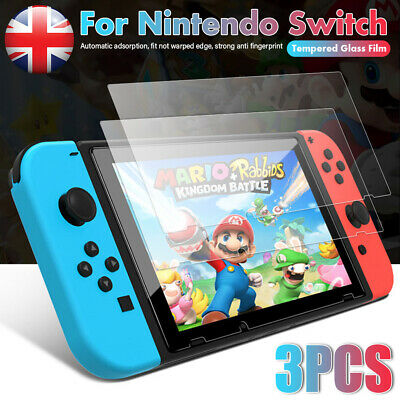 Fit Nintendo Switch Console PREMIUM TEMPERED GLASS 3 Pack Screen Protector Cover