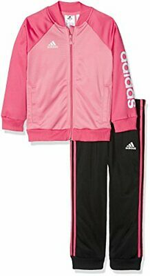 Adidas Infant Girls Shiny Pink/Black Tracksuit - Age: 9-12 Months