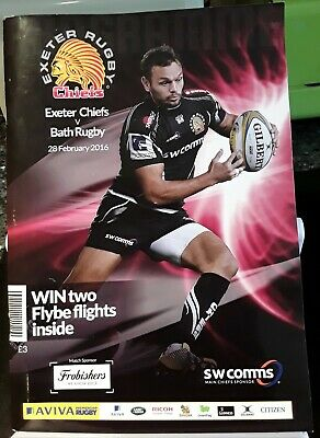 Exeter Rugby Chiefs Programme (Exeter Chiefs V Bath Rugby) 28Th Feb 2016