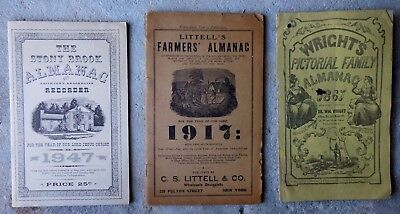 3 Old Almanacs Littell's 1917 Wrights Pictorial Family 1861 Stonybrook LI 1947