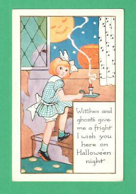 Vintage Whitney Halloween Postcard Girl Candle Staircase Moon-Face Jol Stars