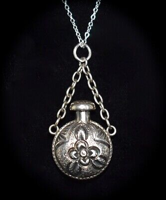 PRETTY Antique Petite STERLING 2 Sided FLORAL Chatelaine PERFUME BOTTLE Necklace