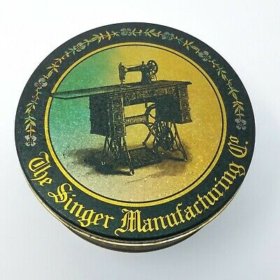 Vintage Singer Sewing Machine Manufacturing Tin Canister Can Storage Container