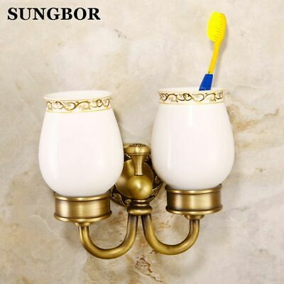 Bathroom Accessory Brass Antique Porcelain Double Tumbler Cup Toothbrush Holder