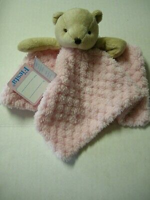 "Bear Security Blanket W/Snaps For Pacifier Holder By Fiesta, Pink, 9"", Brand New"